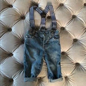 Baby jeans with suspenders (6 months)